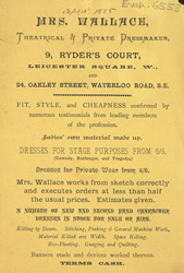 Advert for Mrs Wallace, theatrical & private dressmaker